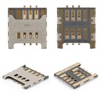 Conector de tarjeta SIM Samsung C3222, C3350, C3530, C3750, C3752, E1050, E1230, E1232, E2222, E2530, E2600, E2652, E3210, I5510, I9000 Galaxy S, I9001 Galaxy S Plus, I9220 Galaxy Note, N7000 Note, N7005 Note, S3350, S3850 Corby II, S5300 Pocket, S5360 Galaxy Y, S5380 Wave Y, S5570 Galaxy Mini, S5610, S6500 Galaxy Mini 2