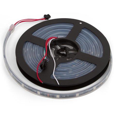 Світлодіодна стрічка RGB SMD5050, WS2811 чорна, з управлінням, IP67, 12 В, 60 діодів м, 5 м